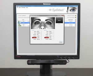 EyeDetect's unique ocular-motor deception test detects deception by measuring bio-cognitive responses with the SMI Eye Track (at bottom of monitor), such as changes in pupil diameter, eye movements, eye blinks, and fixations.