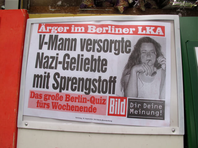 Neo-Nazi story advert. Mitte newsstand, August 2012.